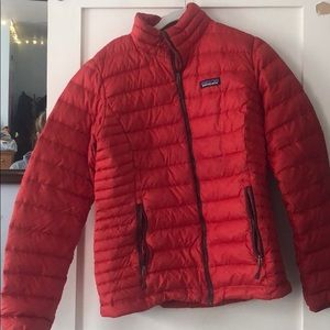 Red Patagonia Women's Down Sweater Jacket